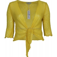 Lemon Mudflower Tie-Knot Popcorn Shrug