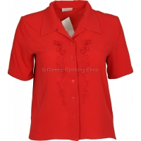 Red Embroidered Waffle Short Sleeve Blouse