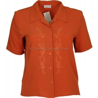 Coral Embroidered Waffle Short Sleeve Blouse