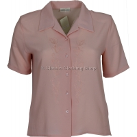 Pink Embroidered Waffle Short Sleeve Blouse