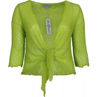 Lime Green Mudflower Tie-Knot Popcorn Shrug