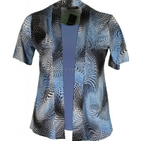 Blue Abstract Twin-Set Look Slinky Top