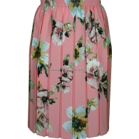 Pink Floral Full Elastic Pleated Print Skirt