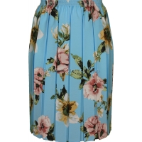 Aqua Floral Full Elastic Pleated Print Skirt