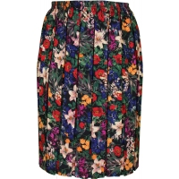 Red Floral Full Elastic Pleated Print Skirt
