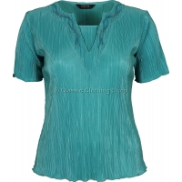 Teal Short Sleeve Plisse Top
