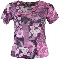 Pink Floral Print Diamante T-Shirt