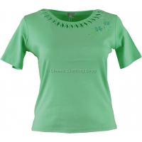 Pistachio Plain Motif T-Shirt Top