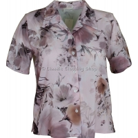 Pale Pink Printed Waffle Short Sleeve Blouse
