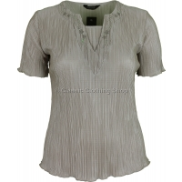 Taupe Short Sleeve Plisse Top