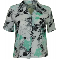 Mint Green Printed Waffle Short Sleeve Blouse