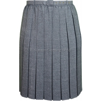 Grey Check Belted Pleated Short Fitting Skirt