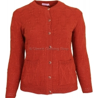 Pumpkin Round Neck Cable Cardigan