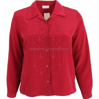 Red Embroidered Long Sleeve Blouse