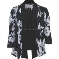 Black & White Floral Twin-Set Look Slinky Top
