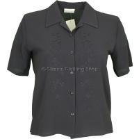 Black Embroidered Waffle Short Sleeve Blouse