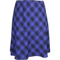 Royal Blue Diamond Check Lined Skirt