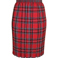 Red Fully Elasticated Box Pleated Skirt