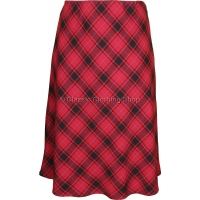 Red Diamond Check Lined Skirt