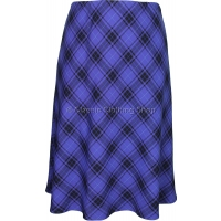 Royal Blue Diamond Check Lined Skirt