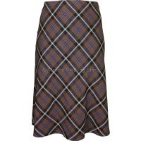 Brown Diamond Check Lined Skirt