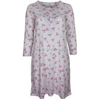 Winter White 'Pink Blossom' Floral Long Sleeve Nightdress