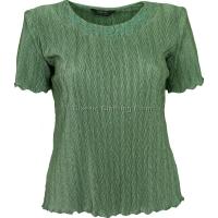 Sage Green Short Sleeve Plisse Top
