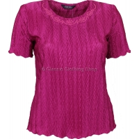Magenta Short Sleeve Plisse Top