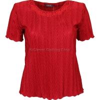 Red Short Sleeve Plisse Top