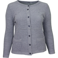 Grey Round Neck Boucle Cardigan