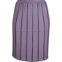 Pink Check Box Pleated Elasticated Skirt