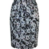 Black & White Floral Full Elastic Pleated Print Skirt