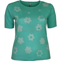 Mint Floral Short Sleeve Jumper