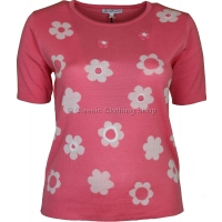 Coral Floral Short Sleeve Jumper