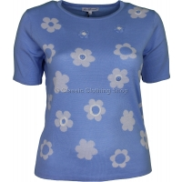 Blue Floral Short Sleeve Jumper