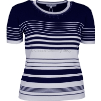 Navy Stripe Short Sleeve Jumper