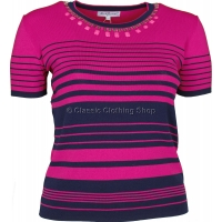 Pink Stripe Short Sleeve Jumper