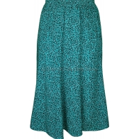 Teal Abstract Printed Panelled Skirt