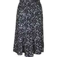 Black Floral Printed Panelled Skirt