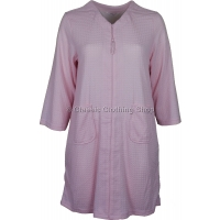 Pink Zip Through Waffle Housecoat / Dressing Gown