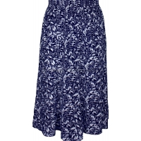 Navy Floral Printed Panelled Skirt
