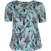 Aqua Abstract Printed Slinky Top