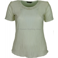 Cream Short Sleeve Plisse Top