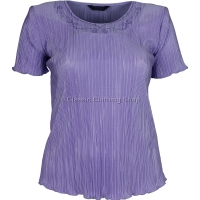 Lilac Short Sleeve Plisse Top