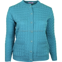 Turquoise Round Neck Cable Cardigan