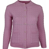 Pink Round Neck Cable Cardigan