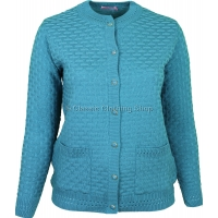 Turquoise Round Neck Latice Cable Cardigan