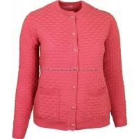 Coral Round Neck Latice Cable Cardigan