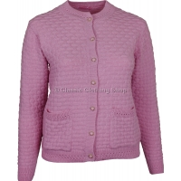 Pink Round Neck Latice Cable Cardigan