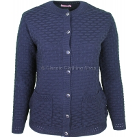 Navy Round Neck Latice Cable Cardigan